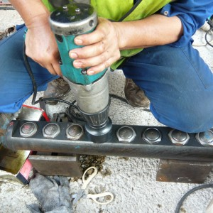 Million Base technican is doing regular checking of the rock splitter cylinder, to see any of the piston is broken.