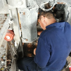 Million Base Technician is fixing the Micro Switch of Manitou Platform. This Micro Switch is to ensure the platform is not excess the loading limited, ie 1 ton.