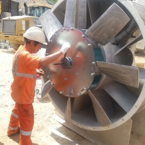 After a little accident in job site, Million Base mechanic person is installing new fan blades.